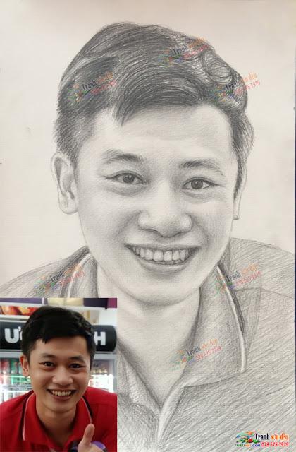 Vẽ chân dung chì than tặng sinh nhật bạn trai