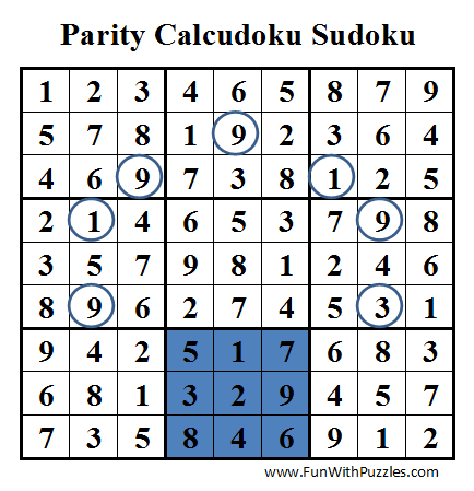 Parity Calcudoku Sudoku (Daily Sudoku League #38) Solution