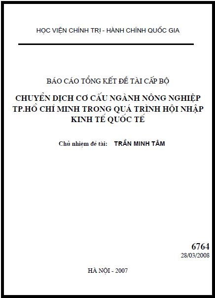 Chuyển dịch cơ cấu ngành nông nghiệp thành phố Hồ Chí Minh trong quá trình hội nhập kinh tế quốc tế