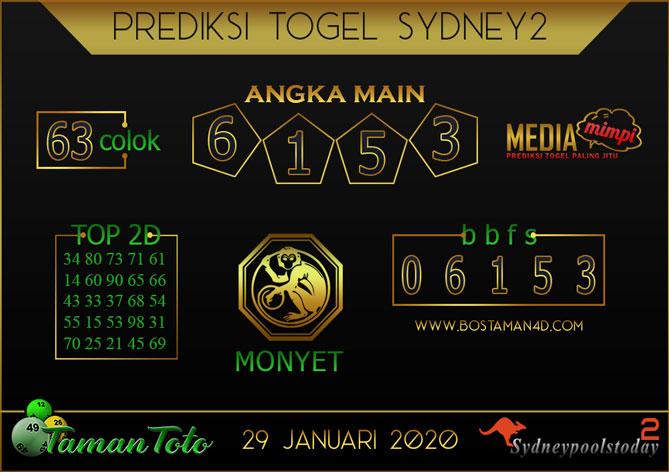 Prediksi Togel SYDNEY 2 TAMAN TOTO 29 JANUARI 2020