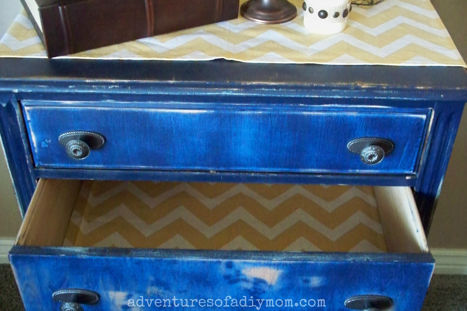 Blue Distressed Dresser - Fabric Lined Drawers