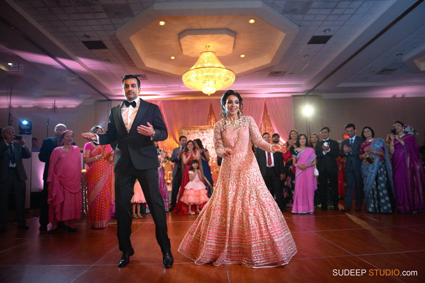 Indian Wedding Photography Grand Entrance Dance at Eagle Crest Marriott SudeepStudio.com Ann Arbor South Asian Indian Wedding Photographer