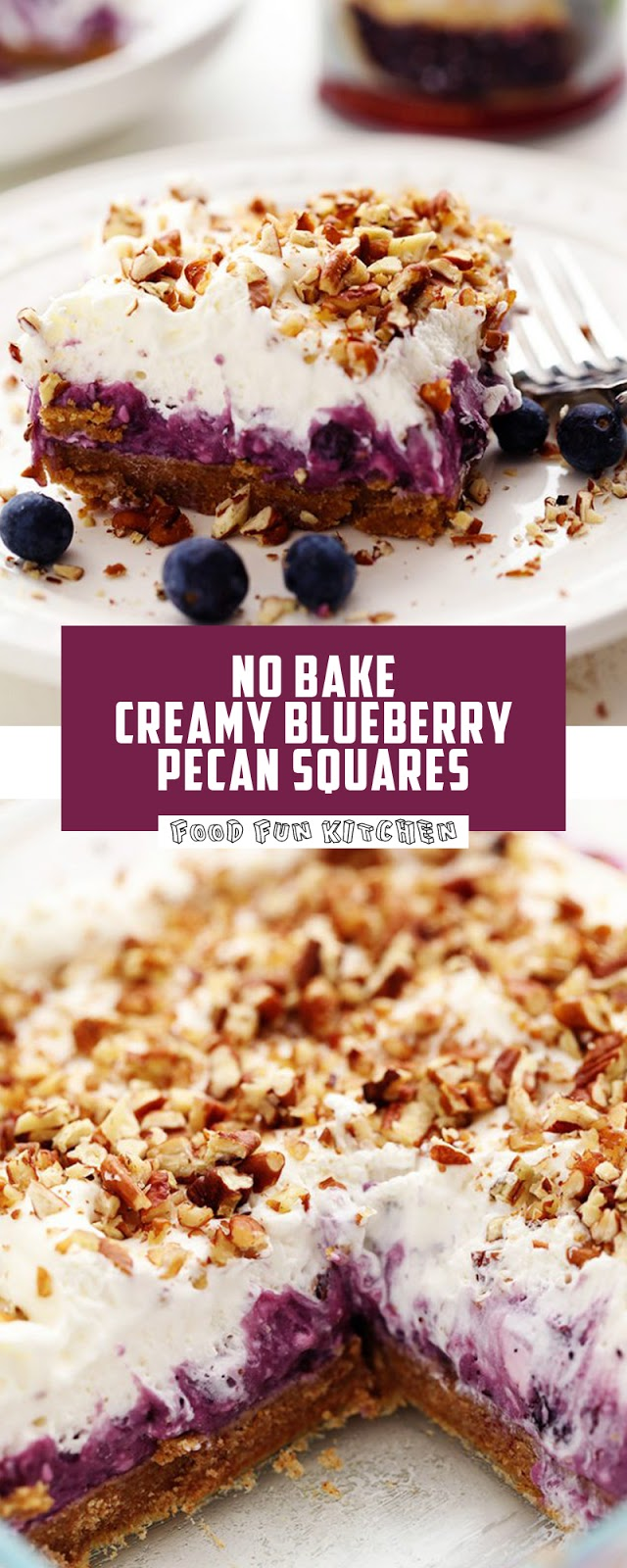 NO BAKE CREAMY BLUEBERRY PECAN SQUARES
