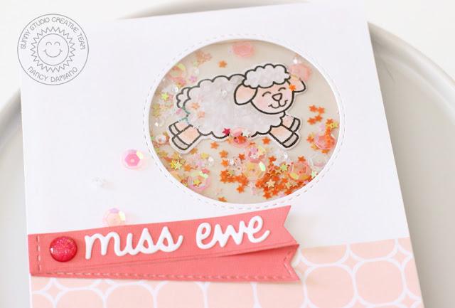 Sunny Studio Stamps: Missing Ewe Pretty Pastel Shaker Card by Nancy Damiano