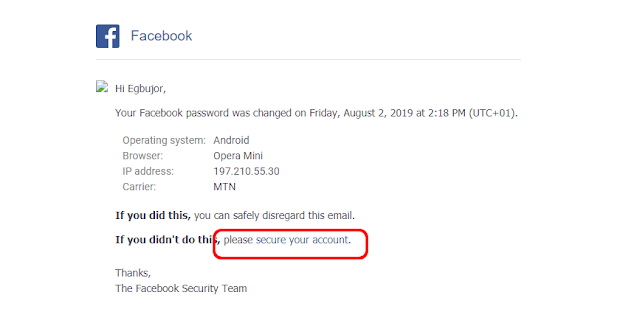 facebook password change mail 2020