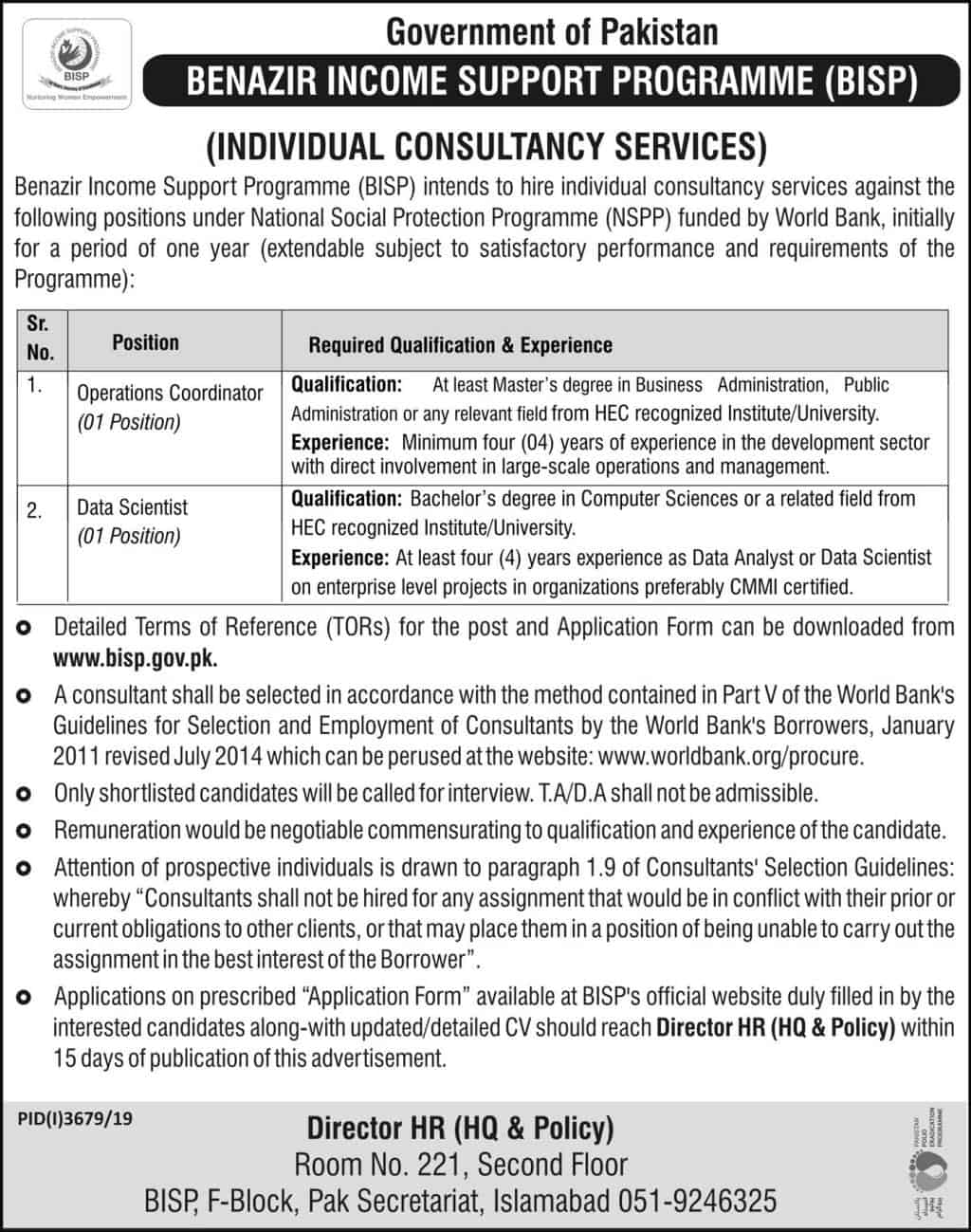 Latest Jobs Advertisement in BISP 2020