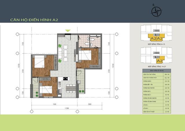 Thiết kế căn hộ A2 Hồng Hà Tower