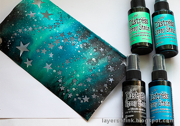 Layers of ink - Misted Galaxy Tutorial by Anna-Karin Evaldsson, with Tim Holtz Sizzix Distress Spray Stain.
