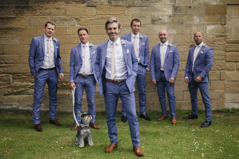 groomsmen blue suit summer wedding