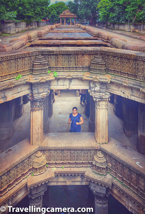 Entrance of Dada Harir Vav is from the East and there are two spiral staircases in West which are near the well & very narrow. We took one of them to reach the top of the stepwell. The scary part of bats roaming around and as we entered the spiral staircase, a dozen of bats flying out. Vibha has not in favour of taking the stairs but I would convince here.