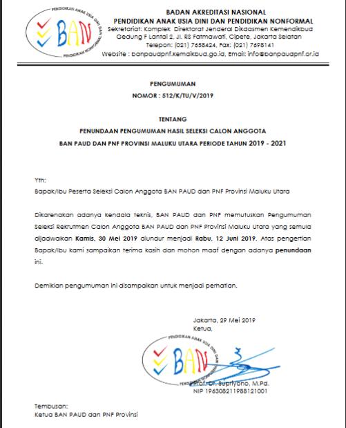 Surat Edaran BAN PAUD dan PNF tentang Penundaan Penguman Hasil Seleksi Calon Anggota BAN PAUD dan PNF Prov. Maluku Utara Periode 2019-2021