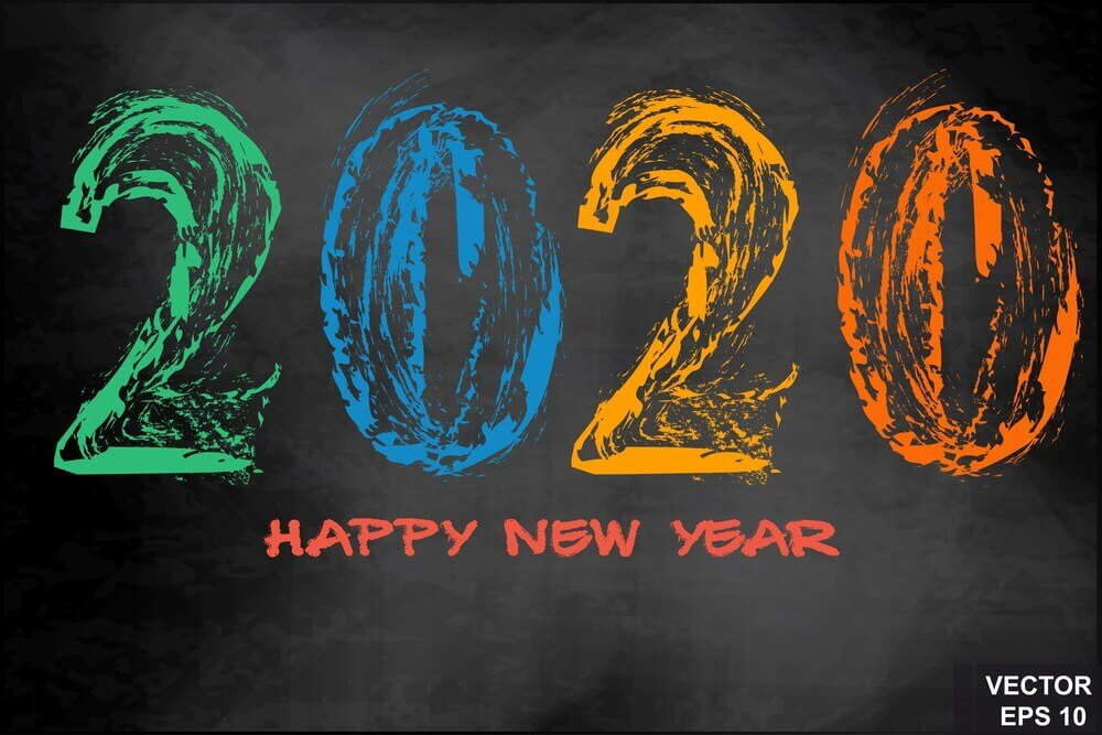 Happy, 2020 New Year, Vector Colors