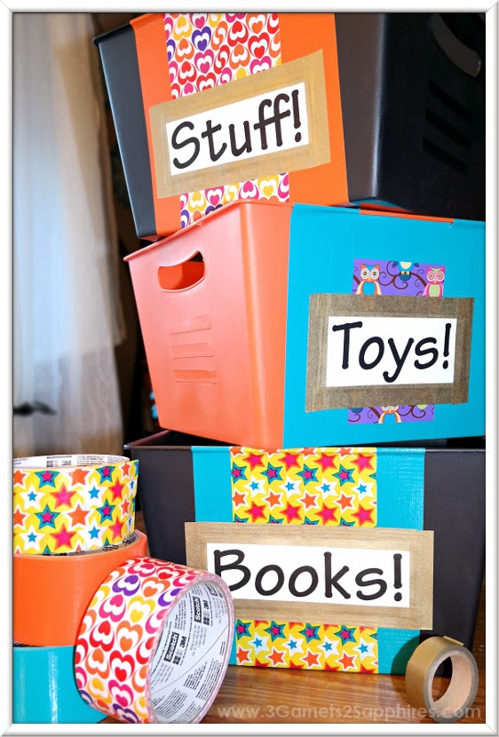 Easy Dollar Section Duck Tape Storage Bin Craft  |  www.3Garnets2Sapphires.com