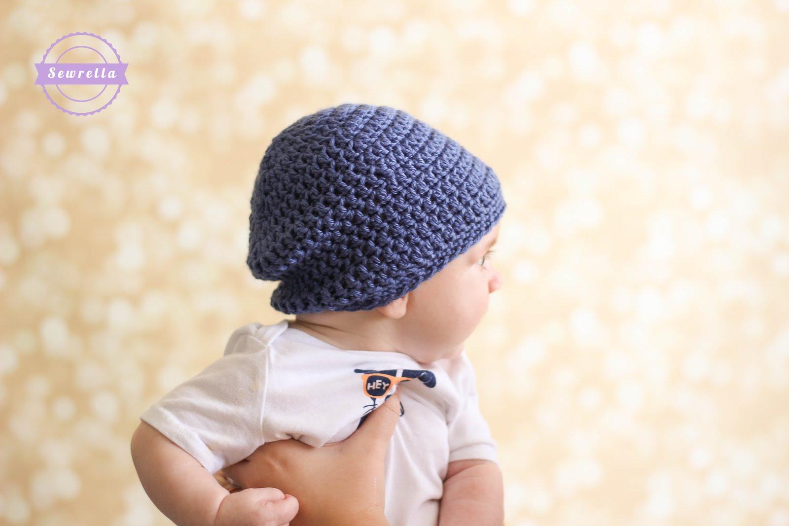 Crochet Slouchy Baby Beanie - Sewrella 34227a0567e