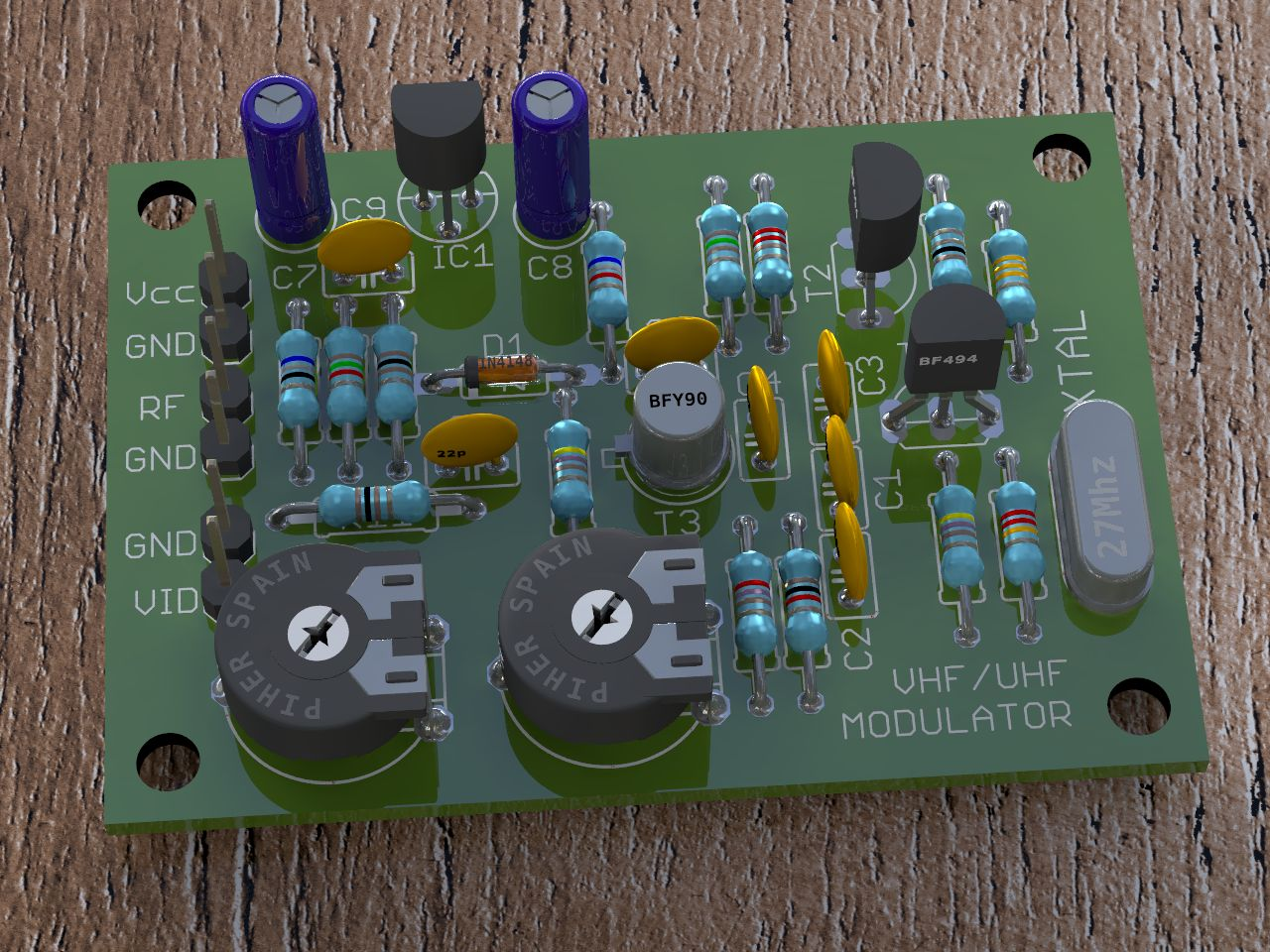 Video Render 3d Images Of Eagle Pcb Projects One Transistor Transistors Amplitude Modulation Circuit Components Electrical Board Rendered With Pov Ray Hdr Lighting