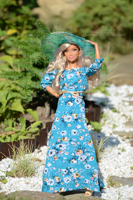 Boho dress for Barbie doll made to move body