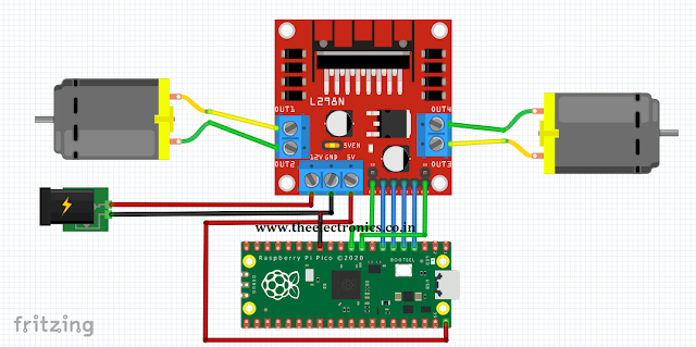 DC Motor with L298 and Raspberry Pi Pico RP2040