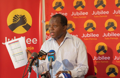 Raphael Tuju in the Jubilee party headquaters talking about party primaries. PHOTO | Courtesy