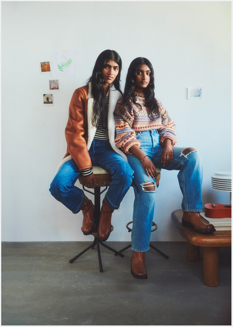 Sisters Ashley Radjrame and Shirley Radjrame star in Mango Family Portraits fall-winter 2021 campaign.