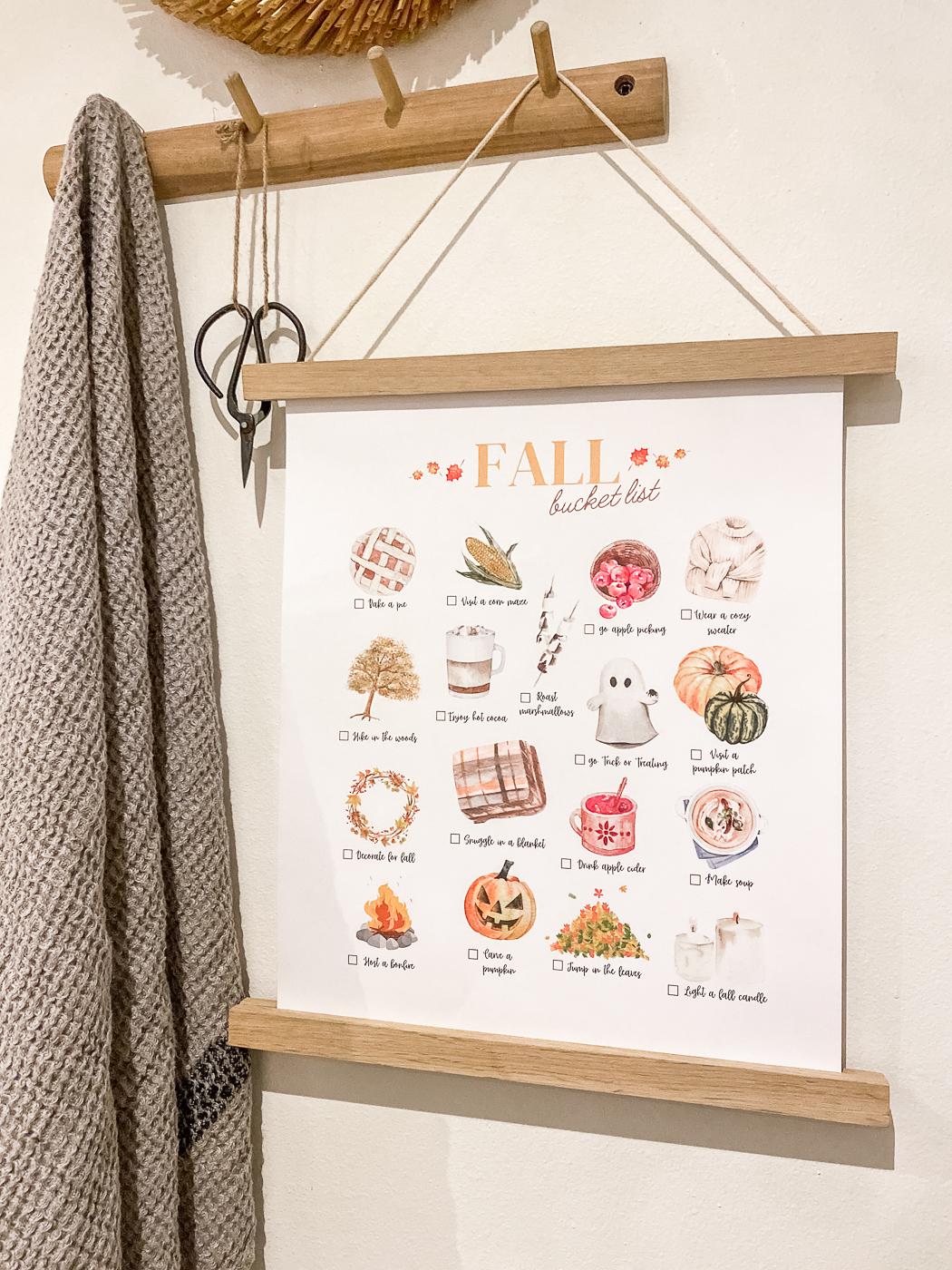 free fall printable wall art, fall printable art, fall printable decor, fall bucket list printable