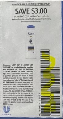 """$3.00/2-Dove Hair Care Products Coupon from """"SAVE"""" insert week of 9/12/21."""