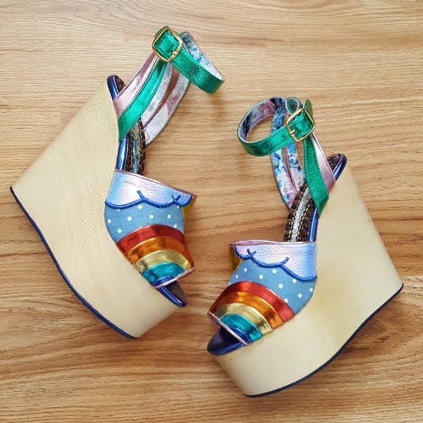 Irregular Choice Funshine rainbow sandals with wooden wedge heels
