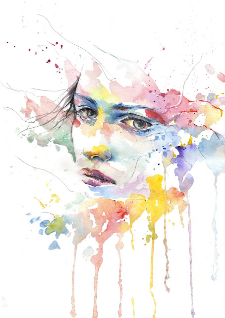 A painting of a girl showing her feelings.