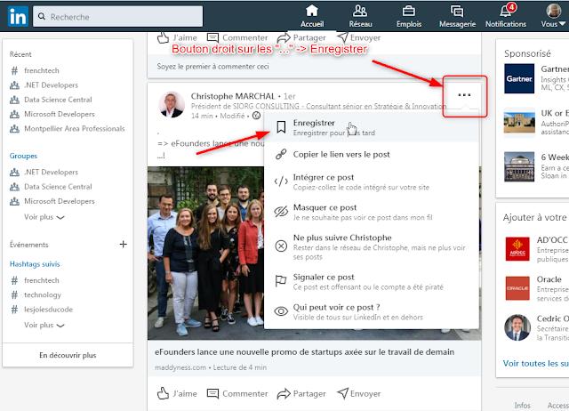 LinkedIn - Comment enregistrer un article pour le lire ultérieurement