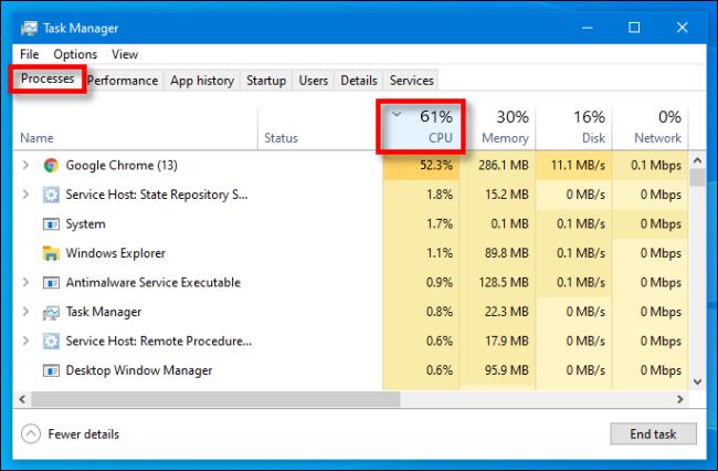 """في إدارة المهام على نظام التشغيل Windows 10 ، حدد علامة التبويب """"العمليات"""" ، ثم انقر فوق رأس """"وحدة المعالجة المركزية""""."""