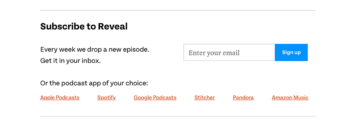 website podcast example: Reveal