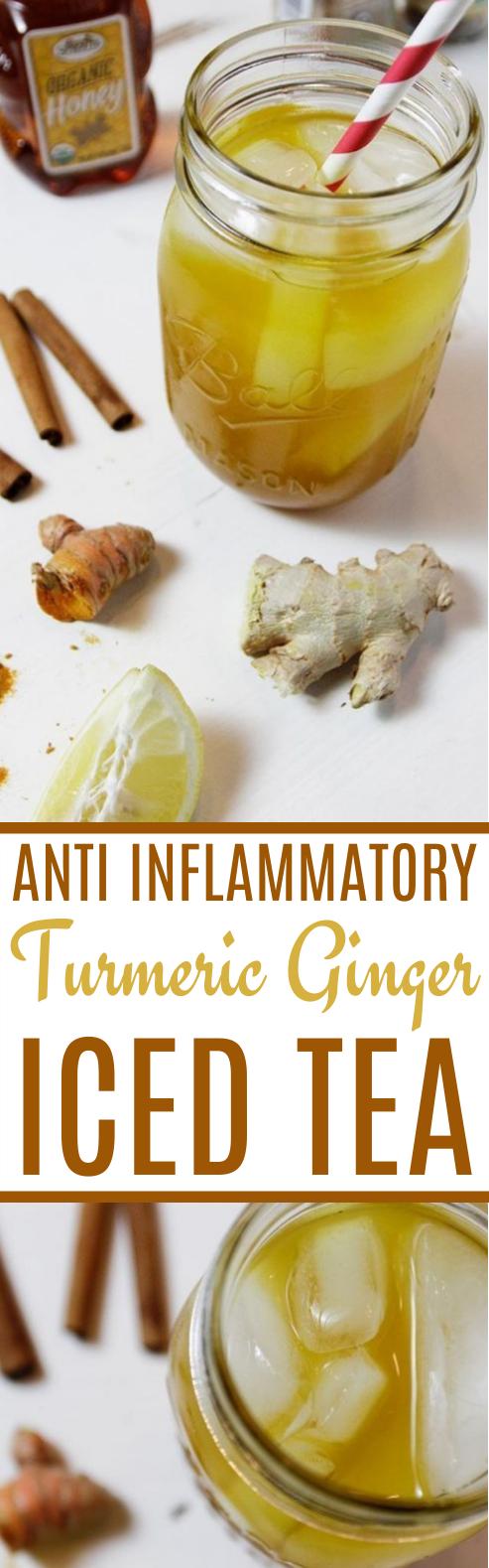 Turmeric Ginger Iced Tea #healthy #drinks #iced #tea #detox