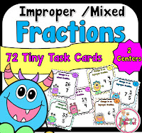 Improper and Mixed Fraction Task Cards