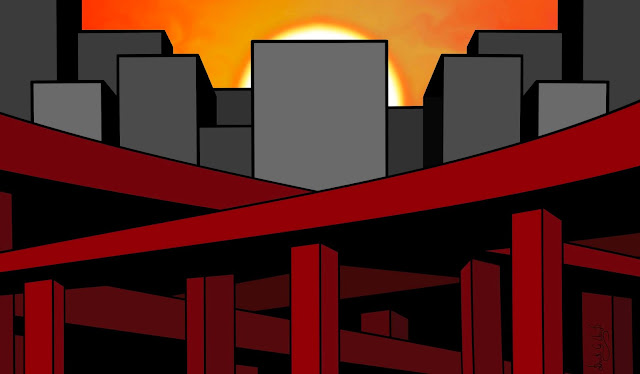A beautiful sunset blocked by ugly buildings and bridges