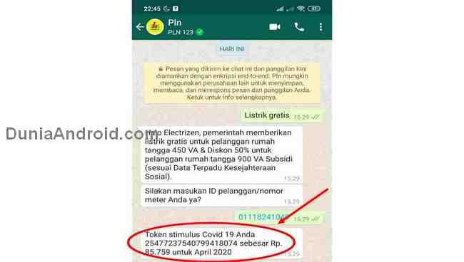 Mengambil token istrik melalui WhatsApp PLN