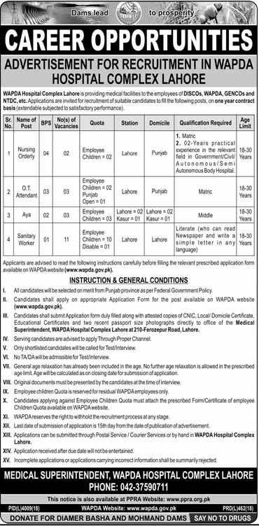 WAPDA Hospital Medical Complex Lahore Jobs