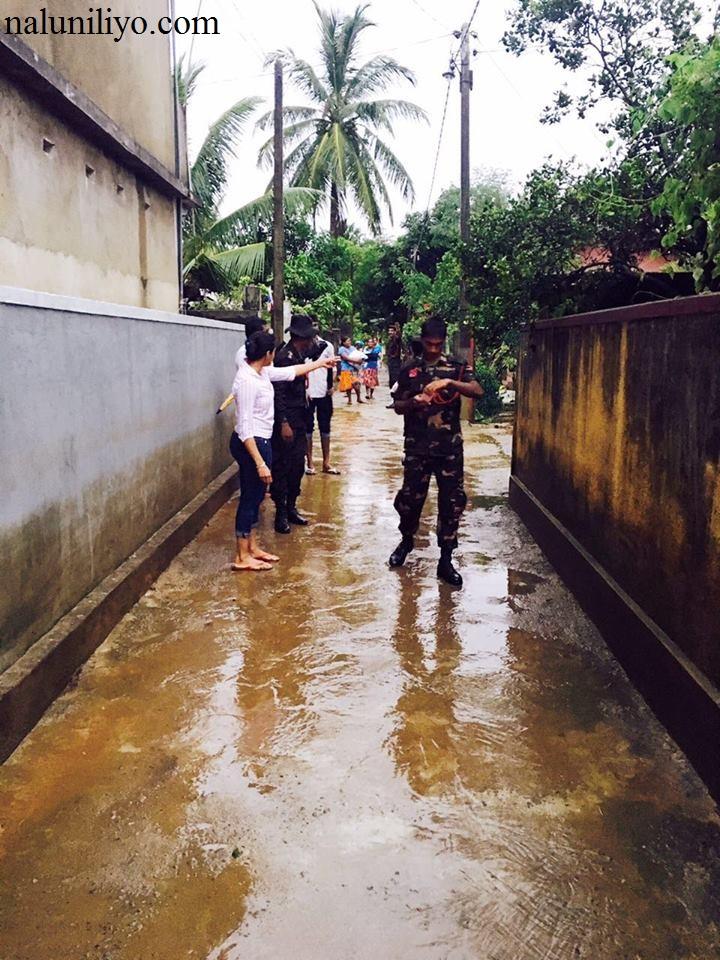 Janaki Wijerathne in flood areas