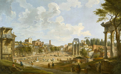 the Roman Forum, 1735 (oil on canvas) by Panini, Giovanni Paolo (1695-1764)