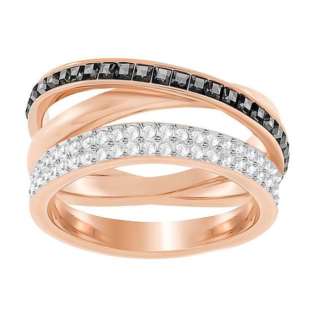 Black and White Swarovski Crystal Ring