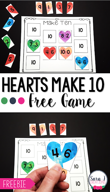 Free game to practice making ten. Addition pairs with a heart theme are perfect for February and Valentine's Day.