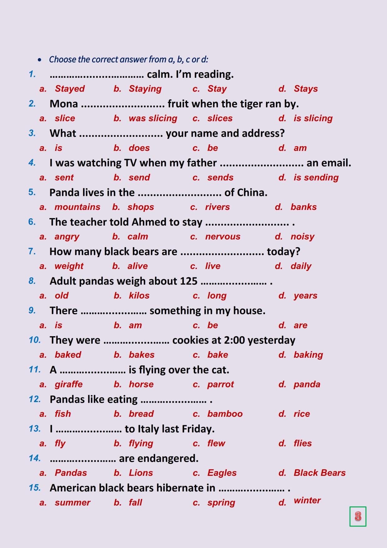مراجعة شهر مارس لغة انجليزية للصف السادس 120 جملة اختياري.. مستر محمود أبو غنيمة 8