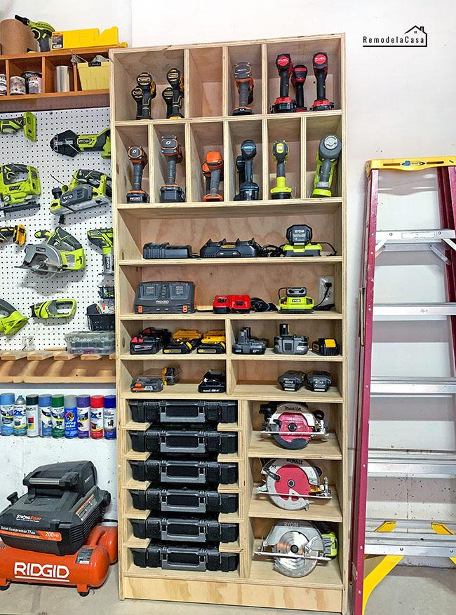 Tool storage - garage organization - drill station cabinet