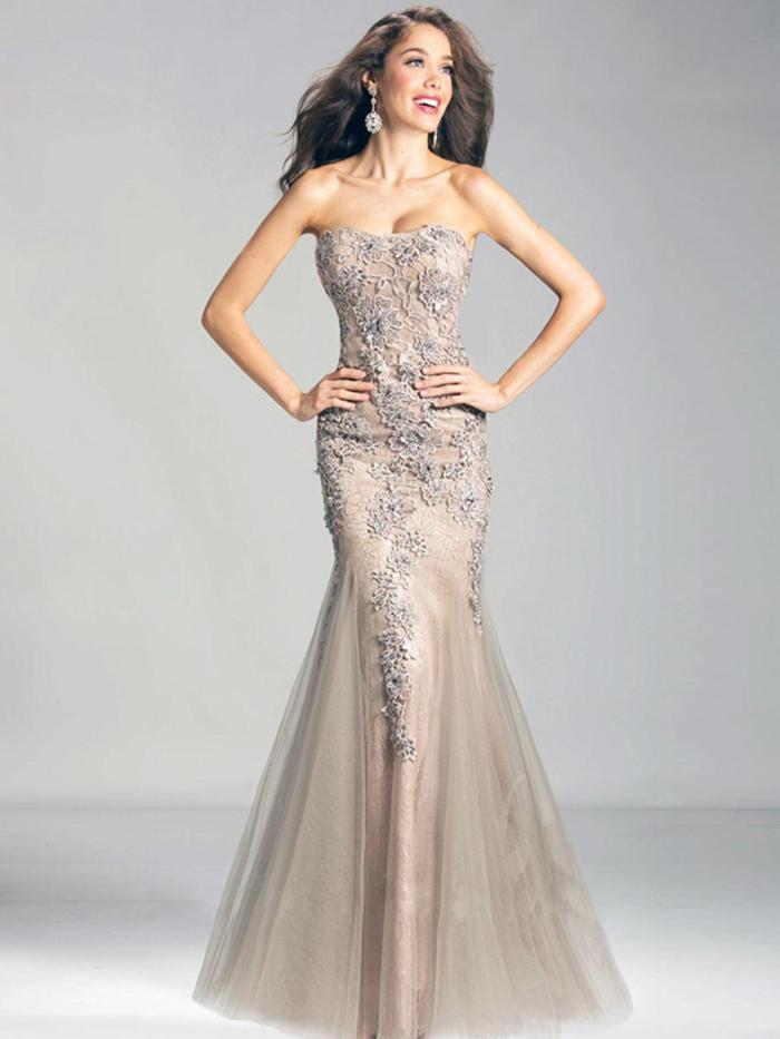 Corte Sirena Palabra de Honor Hasta el Suelo Tul Vestidos de Fiesta/Vestidos de Noche