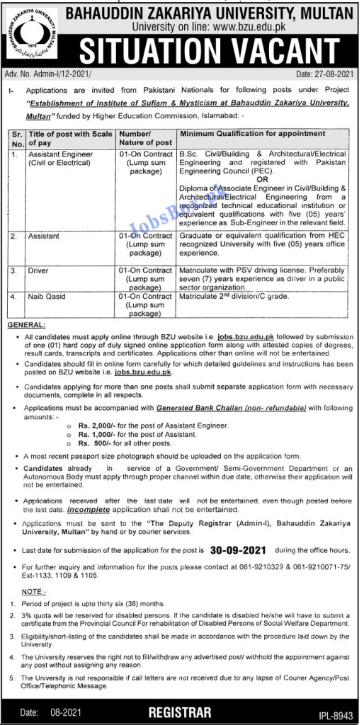 www.jobs.bzu.edu.pk - BZU Bahauddin Zakariya University Multan Jobs 2021 in Pakistan
