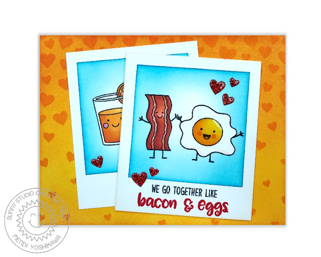 Sunny Studio Stamps: Breakfast Puns & Cascading Heart Bacon & Eggs Card by Mendi Yoshikawa