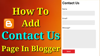 How To Add Contact Us Page In Blogger Blog