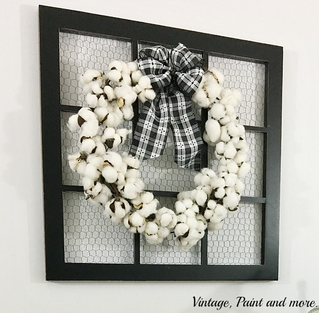 Vintage, Paint and more... cotton boll wreath made from a cotton boll garland with a black and white check bow displayed on a screened picture frame
