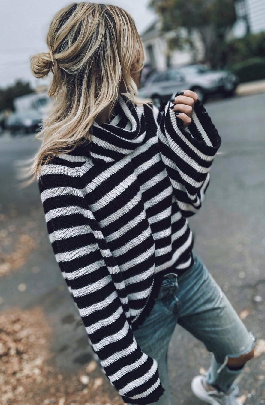 comfy look | striped sweater and boyfriend jeans