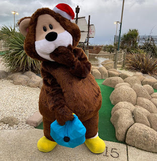 Hastings Adventure Golf mascot Caddie Bear wants you to go naked this Christmas