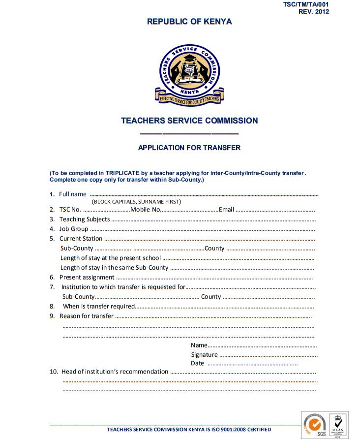[PDF] TSC TEACHER TRANSFER APPLICATION FORM