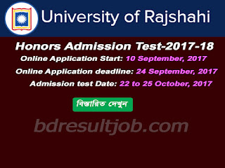 Rajshahi University Admission Test Circular 2017-18